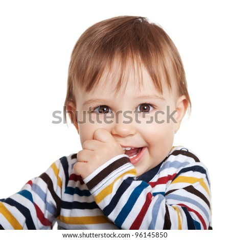 Close up of adorable one year old child smiling, isolated on white - stock photo