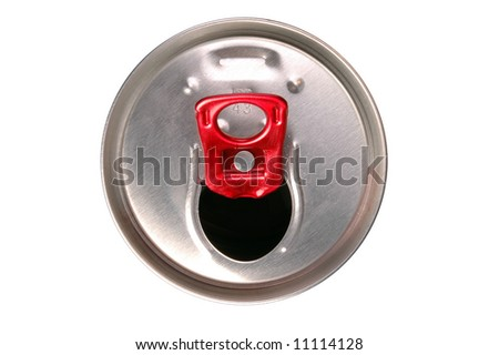Close-up of aluminum drink can isolated on white background - stock photo