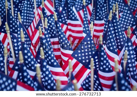 Close up of American flag located at a memorial in the capital city. - stock photo