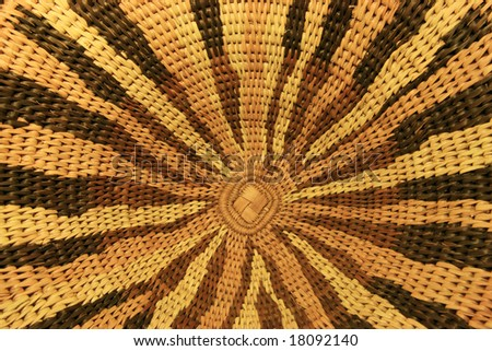 close up of an African basket showing the radial design - stock photo