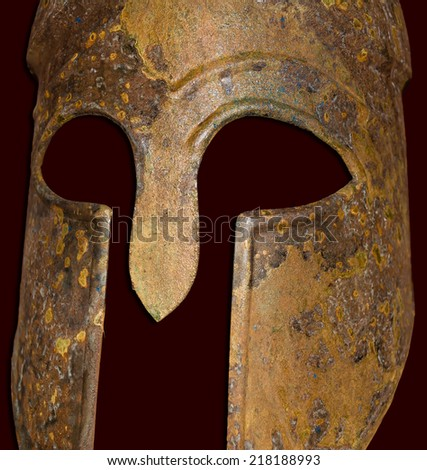 Close up of an Ancient Greek Spartan Helmet - stock photo