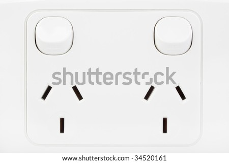 Close-up of an Australian electrical point, switches in the off position. - stock photo
