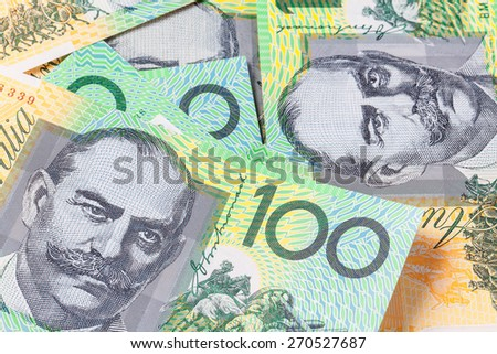 Close-up of an Australian One Hundred Dollar Note. - stock photo