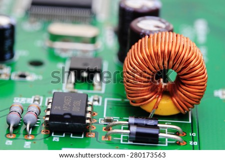 Close up of an electronic circuit board,copper Wire in an electronic circuit board - stock photo