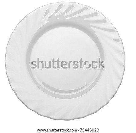 close up  of an empty white plate on white background with clipping path - stock photo