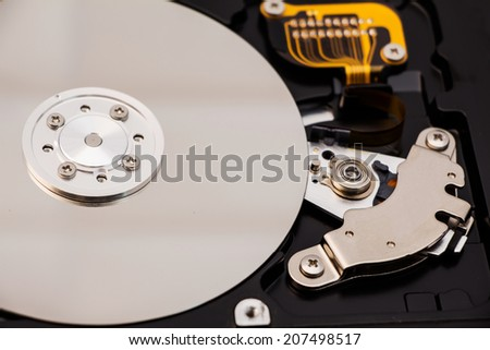 Close-up of an hard disk drive - stock photo