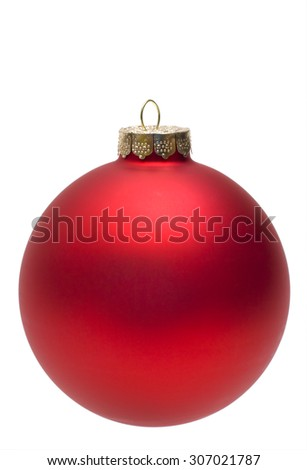 Close-up of an isolated red christmas ball or bauble. - stock photo