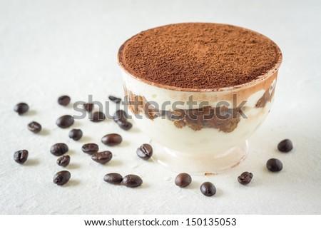 Close up of an Italian dessert, Tiramisu aka. Tuscan Trifle - stock photo