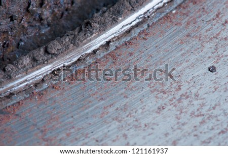 Close-up of an obsolete brake disk - stock photo