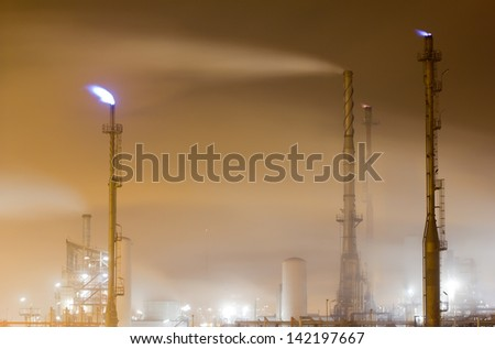 Close-up of an oil-refinery plant - stock photo