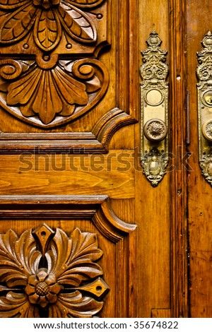 close up of an old antique door - stock photo