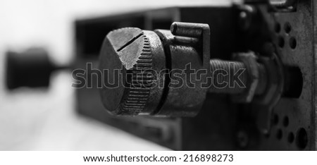 Close up of an old car stereo volume is not working in the background blurred. - stock photo