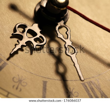 Close up of an Old clock face - stock photo