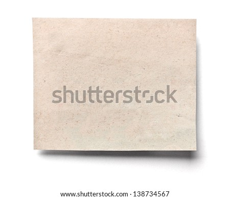 close up of an old newspaper piece of paper on white background - stock photo