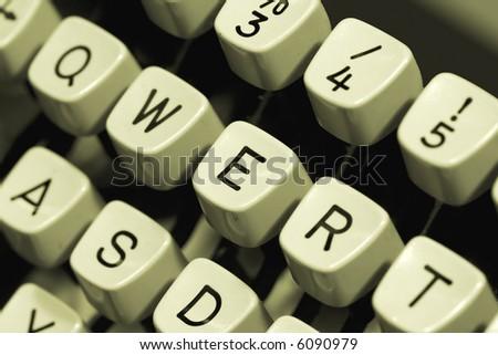 Close-up of an old typewriter keyboard - stock photo
