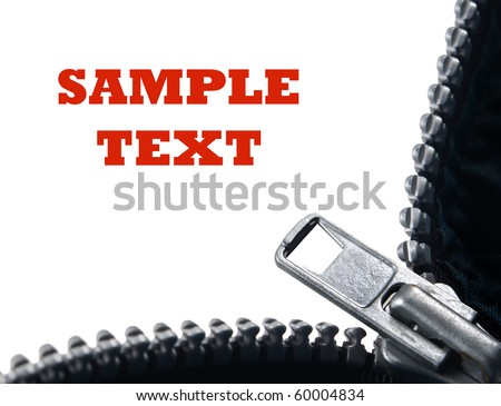 Close up of an open zipper on a white background with space for text - stock photo
