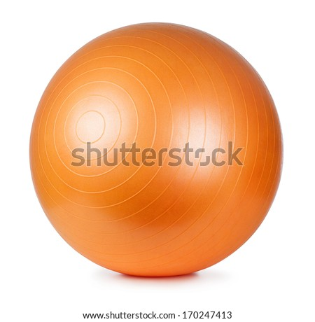 Close up of an orange fitness ball isolated on white background - stock photo