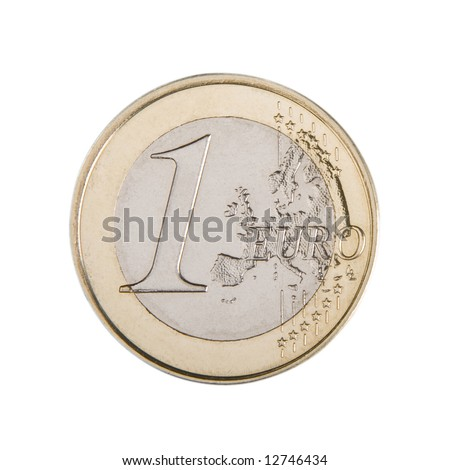 Close-up of an uncirculated one Euro coin. - stock photo