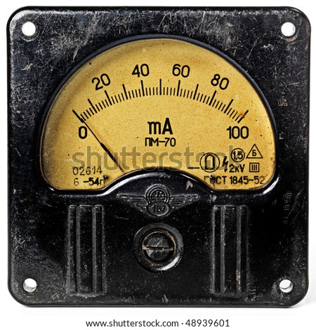 Close-up of an vintage ancient voltmeter - stock photo