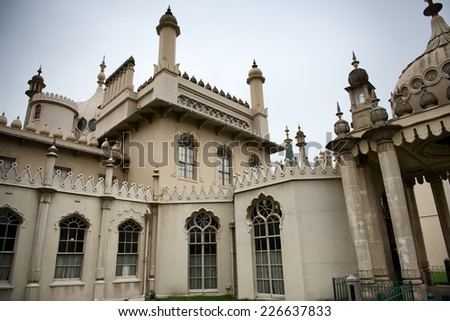 Close Up of Architectural Exterior of Brighton Royal Pavilion, Brighton, England - stock photo