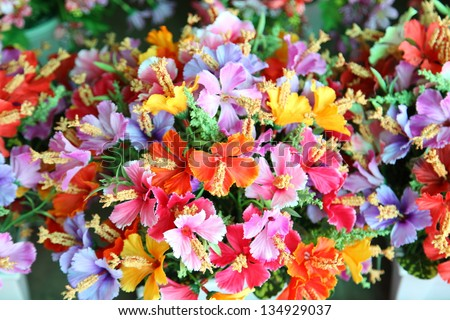 Close up of artificial flower bouquet. - stock photo