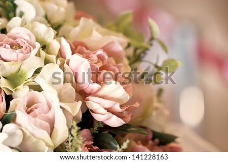Close up of artificial flowers. - stock photo