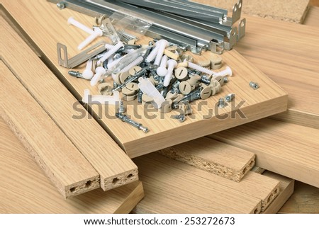 Close up of assembly furniture kit - stock photo