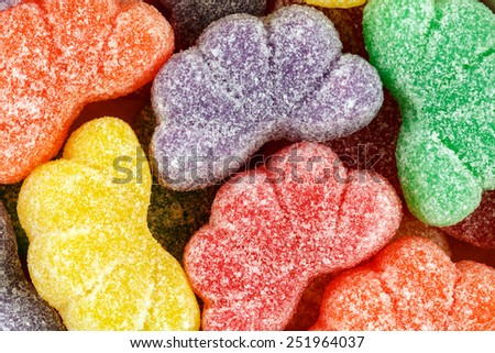 Close up of assorted multicolored fruit slices.   - stock photo