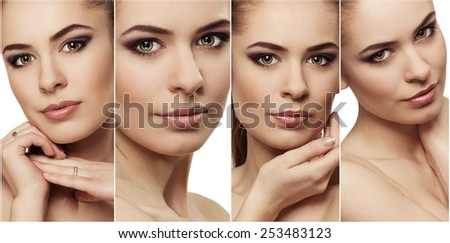 Close-up of attractive young woman face with fresh clean skin. Facial treatment and protection concept.  - stock photo