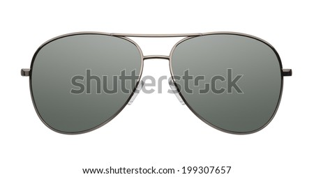 Close up of aviator sunglasses isolated on white background - stock photo
