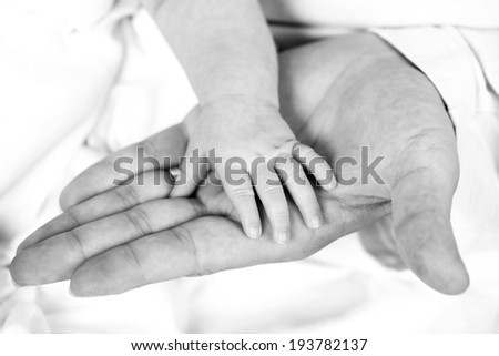 Close up of baby hand on adult hand - stock photo