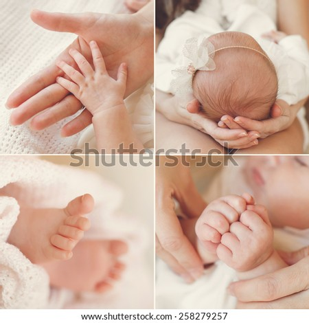 Close-up of baby's hands and feet collage. Mother holding baby. Baby's feet. collage newborn. baby in mom's hands. Baby. Mother. - stock photo