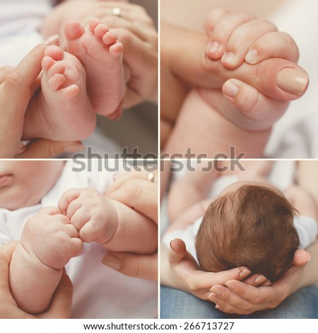 Close-up of baby's hands and feet collage. Mother holding baby. Baby's feet. collage newborn. baby in mom's hands - stock photo
