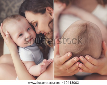 Close-up of baby's hands and feet collage. Mother holding baby. Baby's feet. collage newborn. baby in mom's hands. Mother and baby. Collage. Four pictures. Series. Mother kissing baby - stock photo