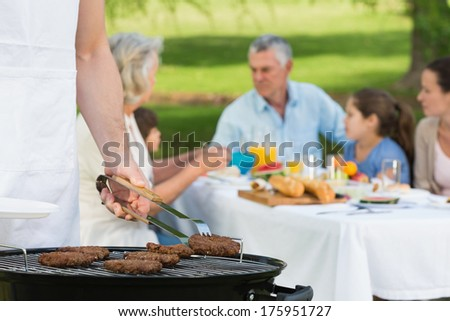 Close-up of barbecue grill with extended family having lunch in the park - stock photo