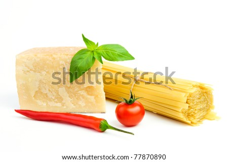 Close up of basic ingredients for italian pasta - stock photo