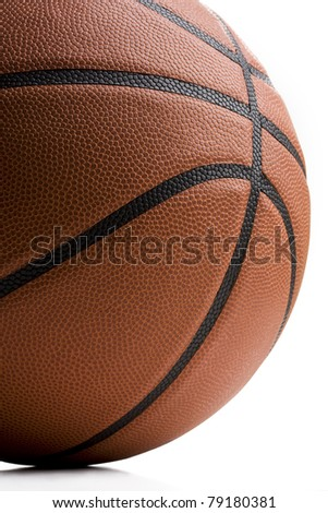 Close up of basketball isolated on white background - stock photo