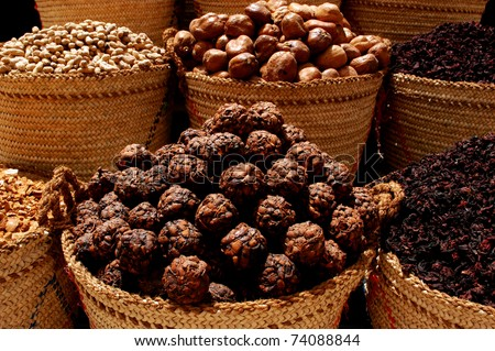 Close up of baskets of spices in Aswan market, Egypt. - stock photo