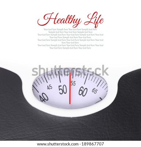 Close up of bathroom scale on white background - stock photo