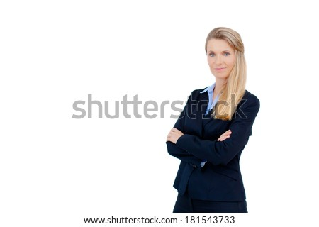 Close-up of beautiful blond young business woman smiling with arms crossed against white background, Copy space. - stock photo