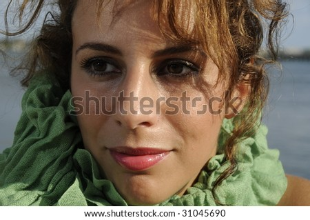 close up of beautiful brunette - stock photo
