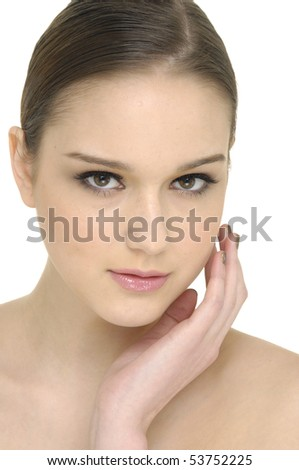 Close-up of beautiful face of woman - stock photo