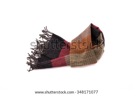 Close up of beautiful multicolor fabric scarf on white background isolated - stock photo