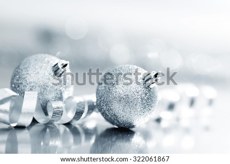 Close-up of beautiful silver glitter christmas decorative balls - stock photo