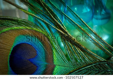 Close up of beautiful spa arrangement with peacock feather. - stock photo