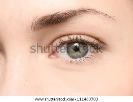 close up of beautiful woman eye - stock photo