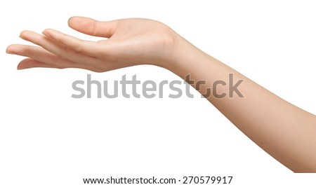Close-up of beautiful woman's hand, palm up with clipping path - stock photo
