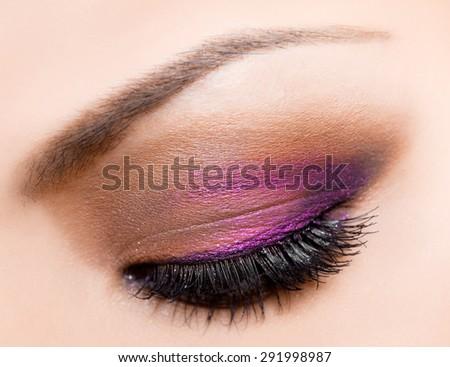 close-up of beautiful womanish eye - stock photo