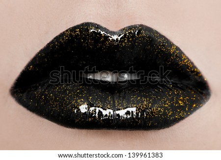 close-up of beautiful womanish lips - stock photo