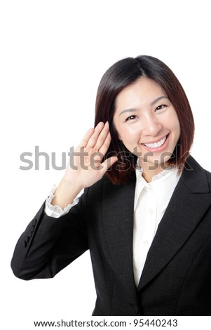 Close up of beautiful young business woman giving you smile isolated on white background, model is a asian beauty - stock photo